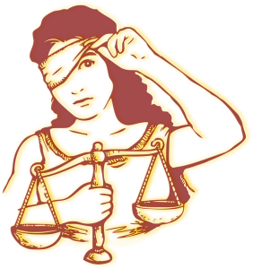 lady justice peeks from blindfold