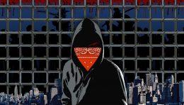Faceless prisoner with city background.