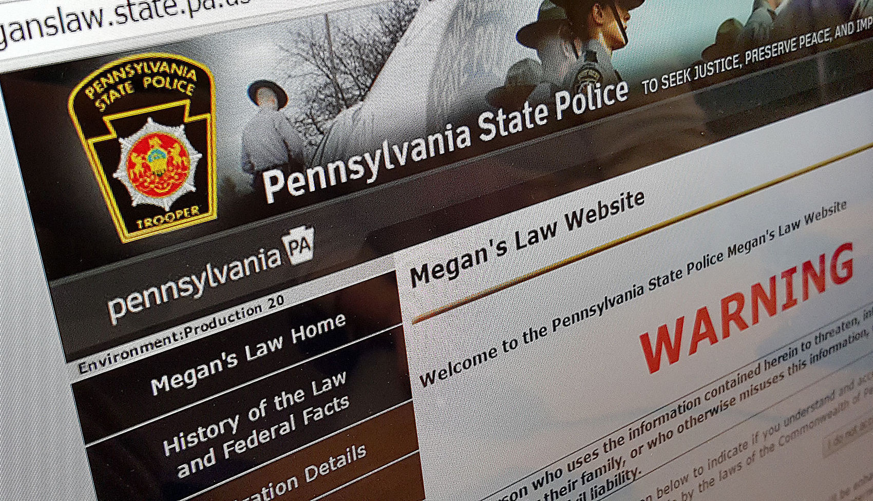 Pennsylvania State Police Megan's Law website