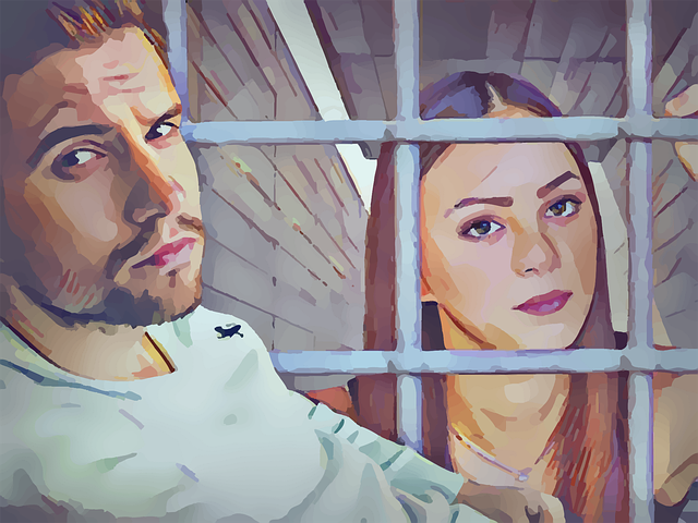 women behind bars, man on other side