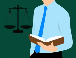lawyer and scales of justice