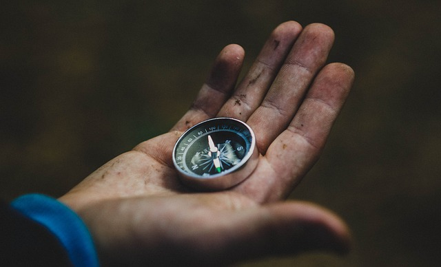 Hand holding a magnetic compass