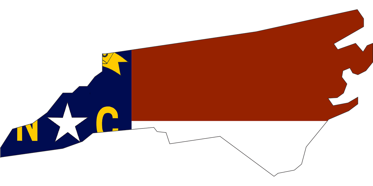 Flag in the shape of the state of North Carolina