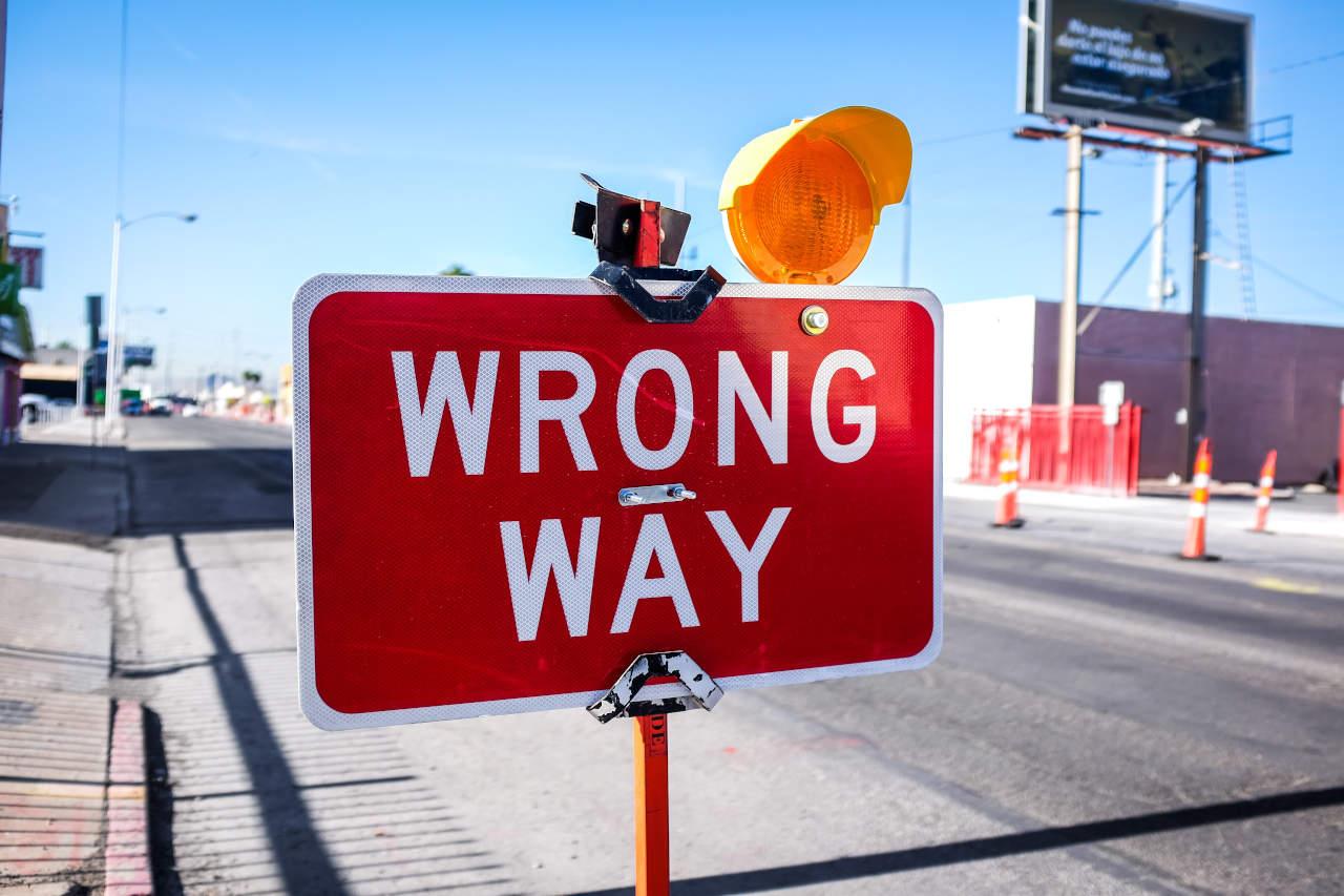 Wrong-way sign